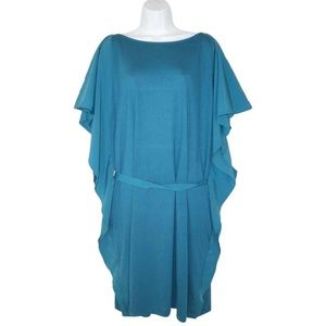 LOGO Knit Caftan Dress with Ruffle Sides 1X Belted
